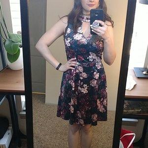 Velvet floral skater dress